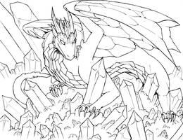 Crystal Dragon Lineart by raerae