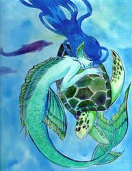 Mermaid and Turtle by raerae