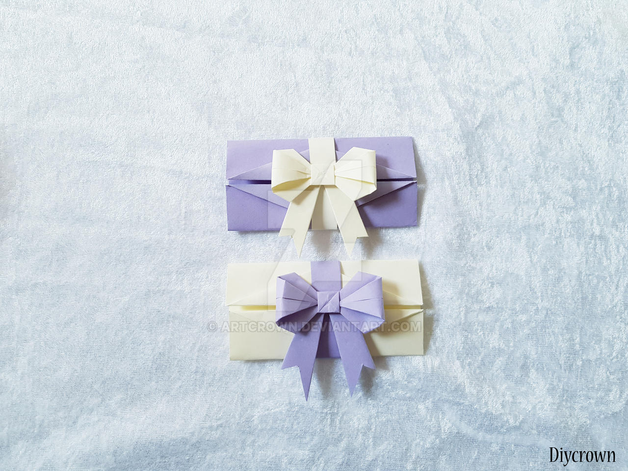 Origami bow and flower on paper with … – Buy image – 12313584 ... | 960x1280
