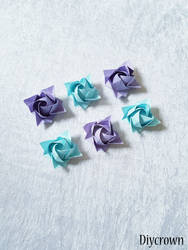 Origami Kawasaki Roses, Purple and Blue by Artcrown