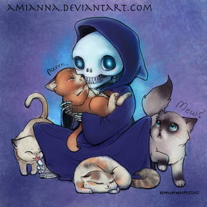 Death with Kittens- Colored