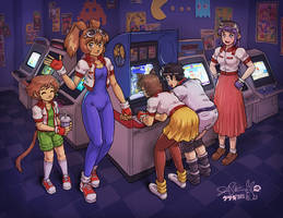 Arina, Rai, and Classmates at the Arcade