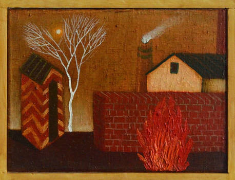 Landscape with factory and fire