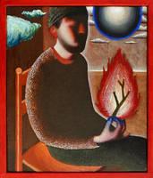 Selfportrait with fire II by DawidZdobylak