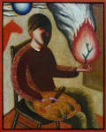 Self-portrait with fire and palette