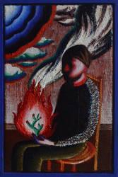 Selfportrait with fire III by DawidZdobylak