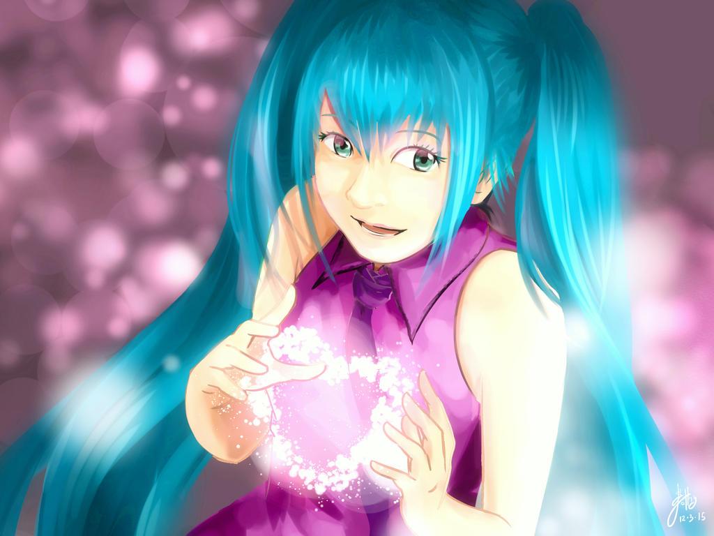 [FA] Hatsune Miku - The sparkle of love by SlothyAmphawa