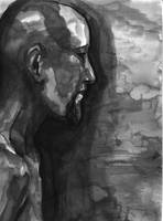 Inkwash profile of a man by Silkenray