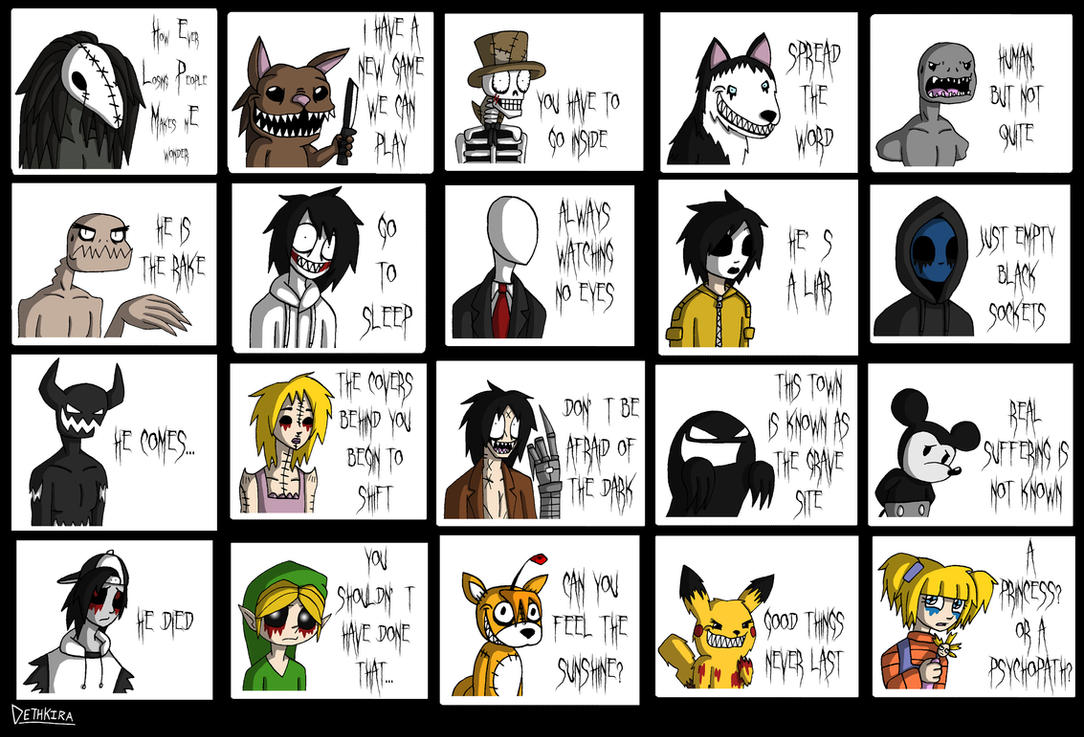 Creepypasta Sticker Set by Dethkira