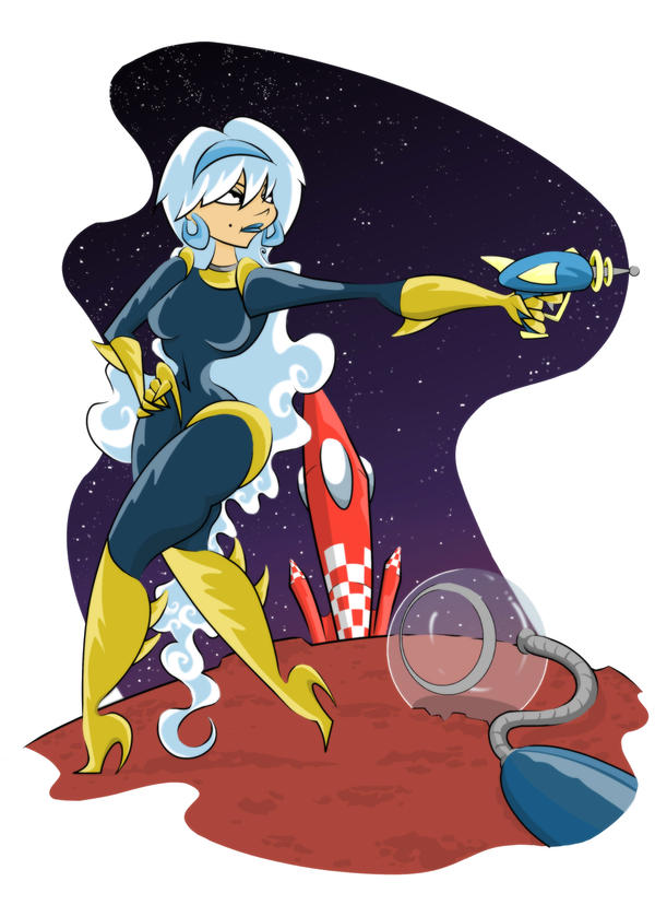 Retro Space Girl by Jimridlington