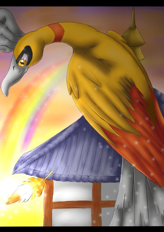 Pokemon: Shiny Ho-Oh by Ink-Leviathan