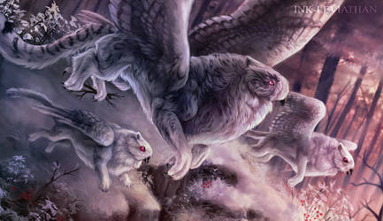Snow Stalker Griffons by Ink-Leviathan