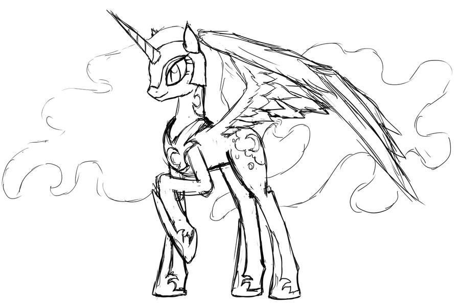 My Little Pony Coloring Pages Nightmare Moon : Princess luna and nightmare moon coloring pages