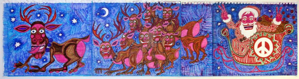 2017 Christmas Triptych Mutant Reindeer and Santa