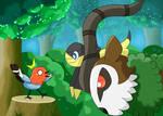 Pokemon - Fletchling, Gogoat and Helioptile