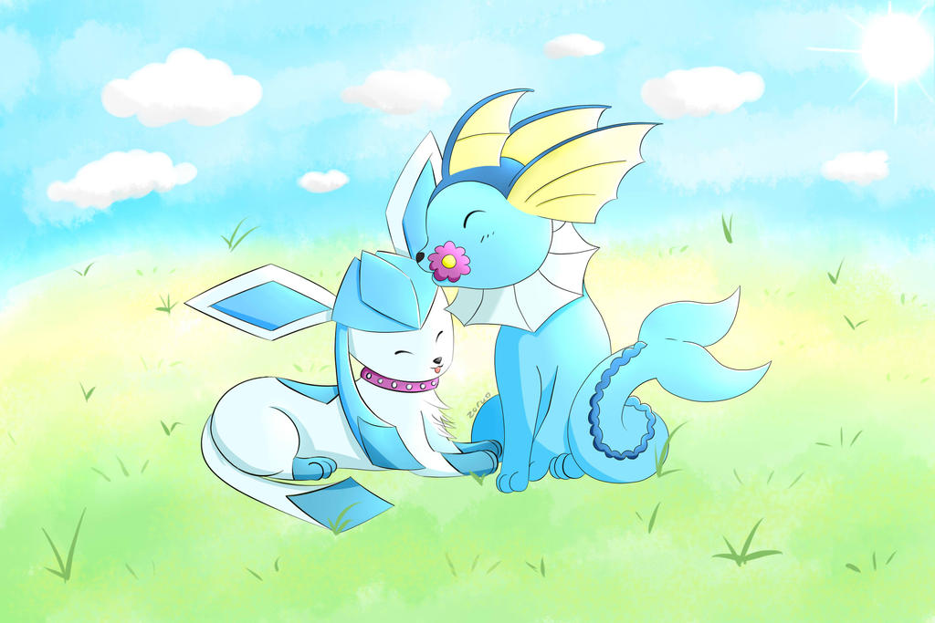 Glaceon vs Vaporeon by Animewave-Neo on DeviantArt |Vaporeon And Glaceon Wallpaper