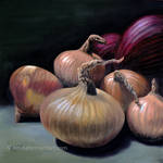 Still Life With Red And Yellow Onions
