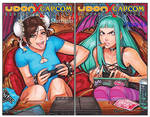 Chun-li and Morrigan body swap caption by SwapperSonic1991