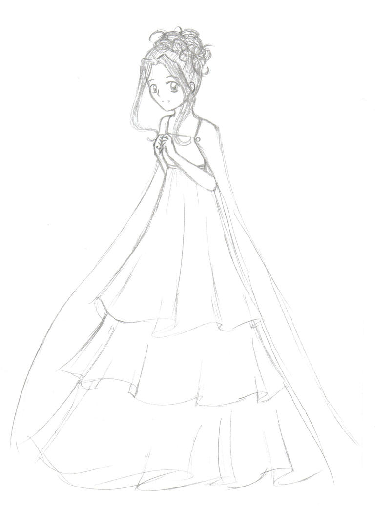 Anime Ball Gown Drawings Sketch Coloring Page