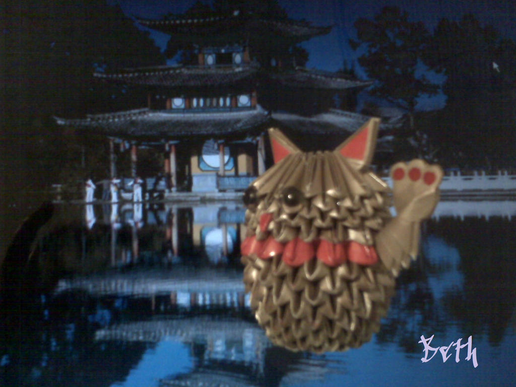 3D Origami Lucky Cat by bethsykarina on DeviantArt - photo#1