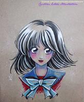 Sketch colour Hotaru Tomoe - Fanart Sailor Moon by CrisEsHer