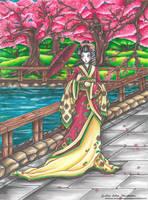 Sakura Flowers - Comission Geisha by CrisEsHer