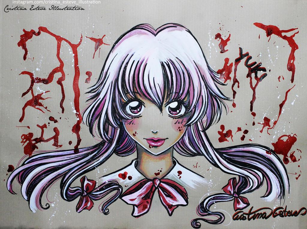 Sketch Color Gasai Yuno Fanart Mirai Nikki By Crisesher On Deviantart