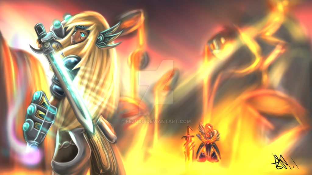 Freya and The Fire Giant by fezudu on DeviantArt