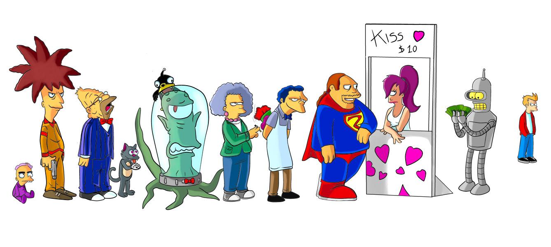 Futurama+simpsons-kiss by padrino666