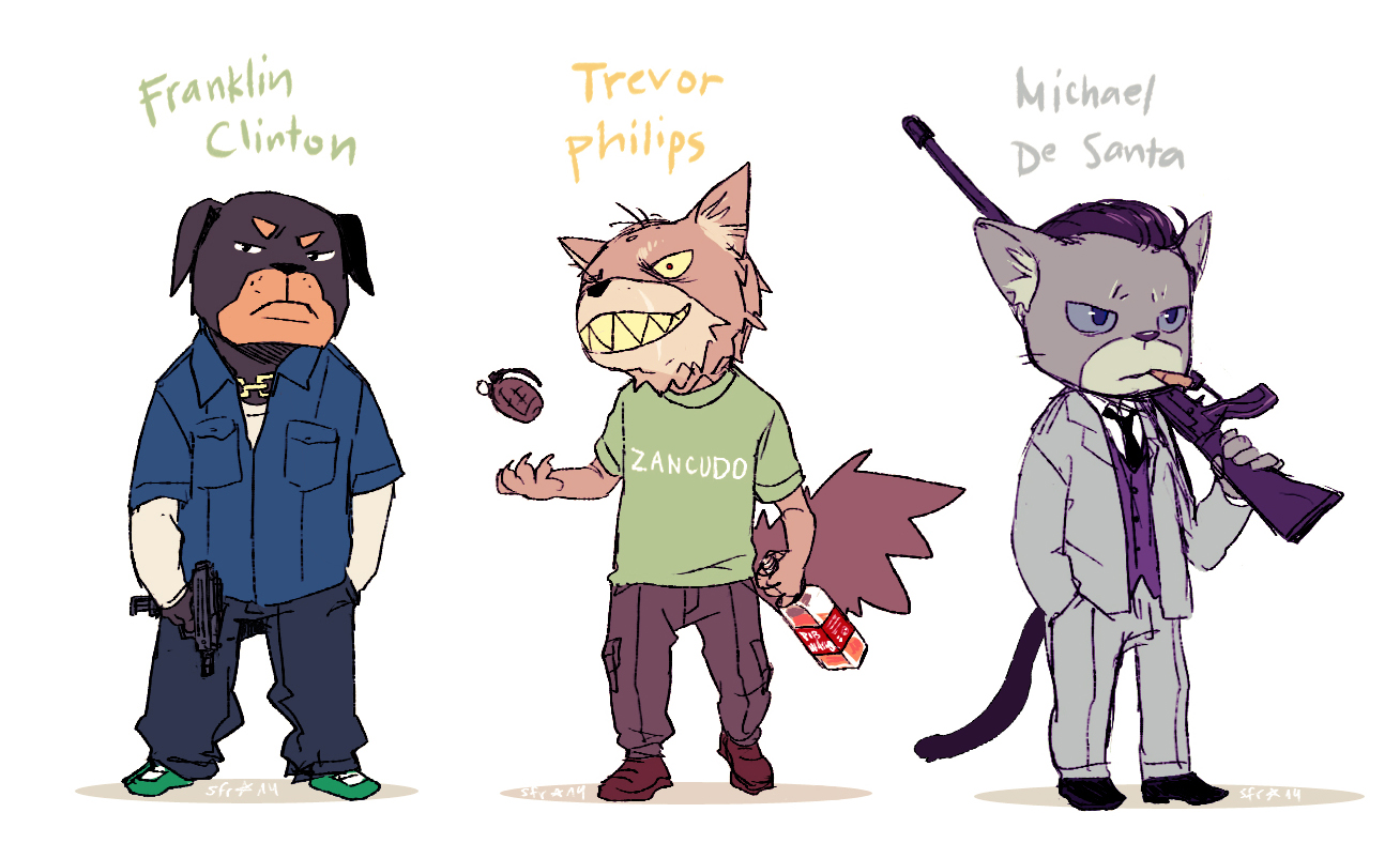 Gta 5 Cartoon Characters : Grand theft anthro v by demitasse lover on deviantart