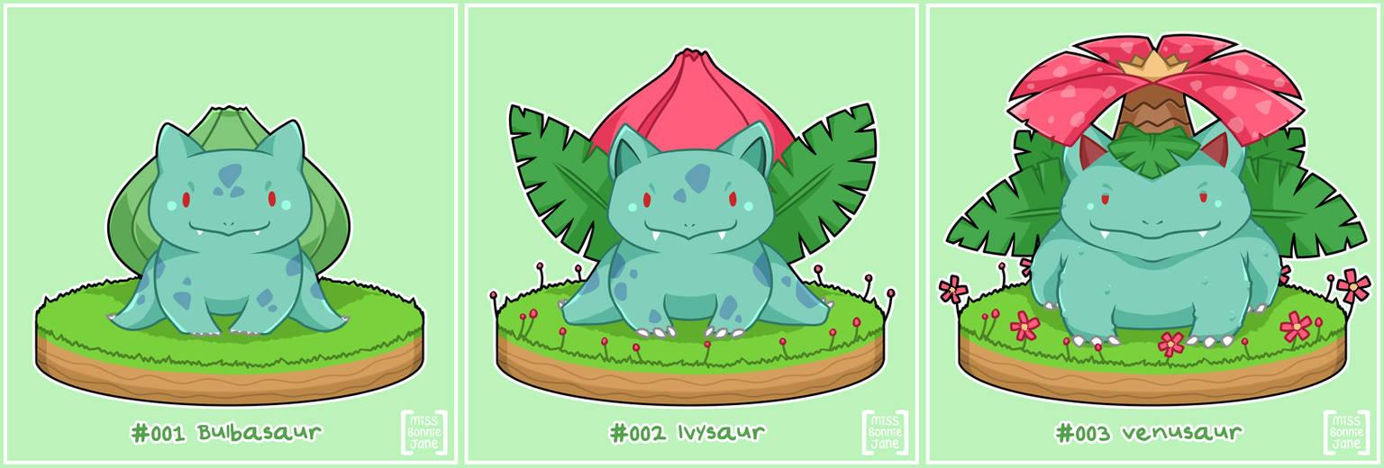 Pokemon: Bulbasaur - Ivysaur - Venusaur by Kiki-Myaki