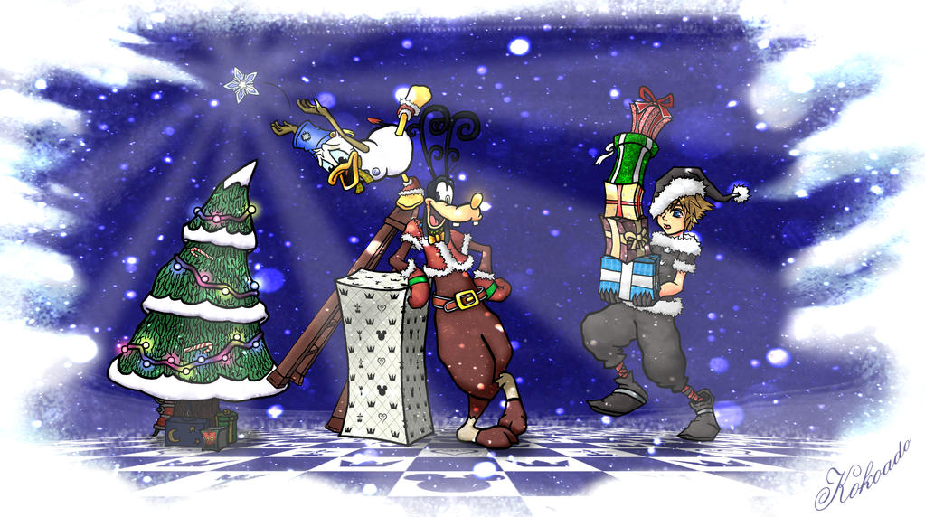Sora, Donald, and Goofy deliver Christmas Presents