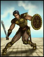Half elf warrior commission by Destinyfall