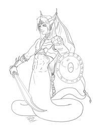 Naga Prince lineart by Destinyfall