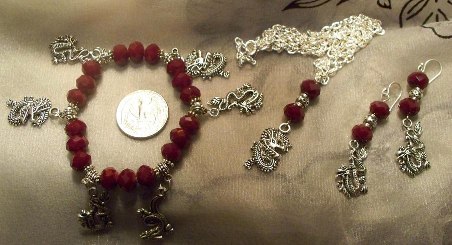 Red Dragon- Jewelry set by Destinyfall
