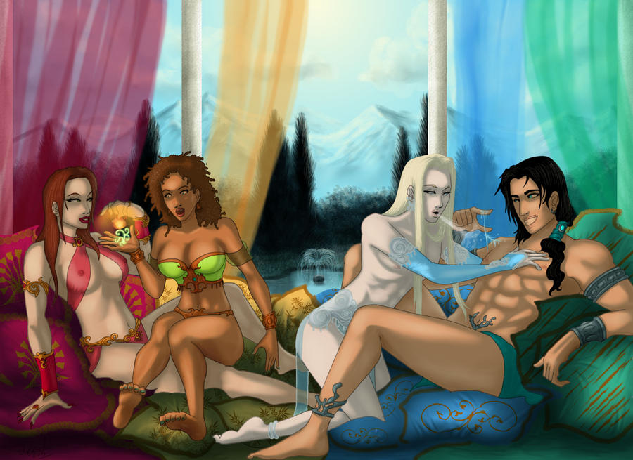 Elemental Gods and Goddesses chilling by Destinyfall