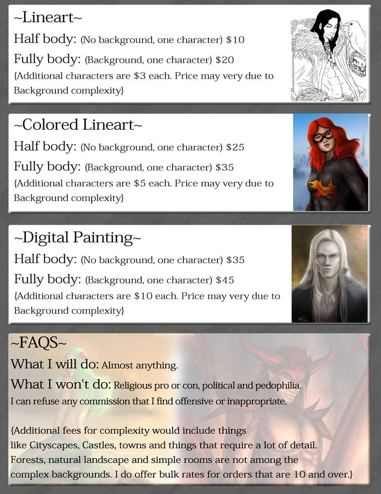 Commission List 2014 by Destinyfall
