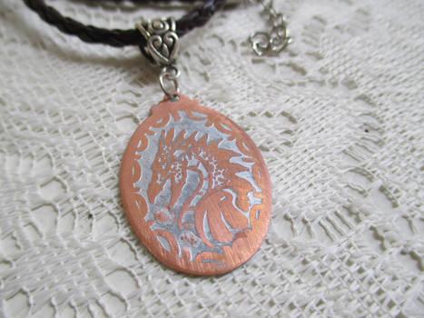 Dragon Fire Acid Etched pendant-necklace