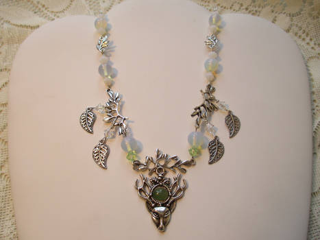 White Stag totem necklace