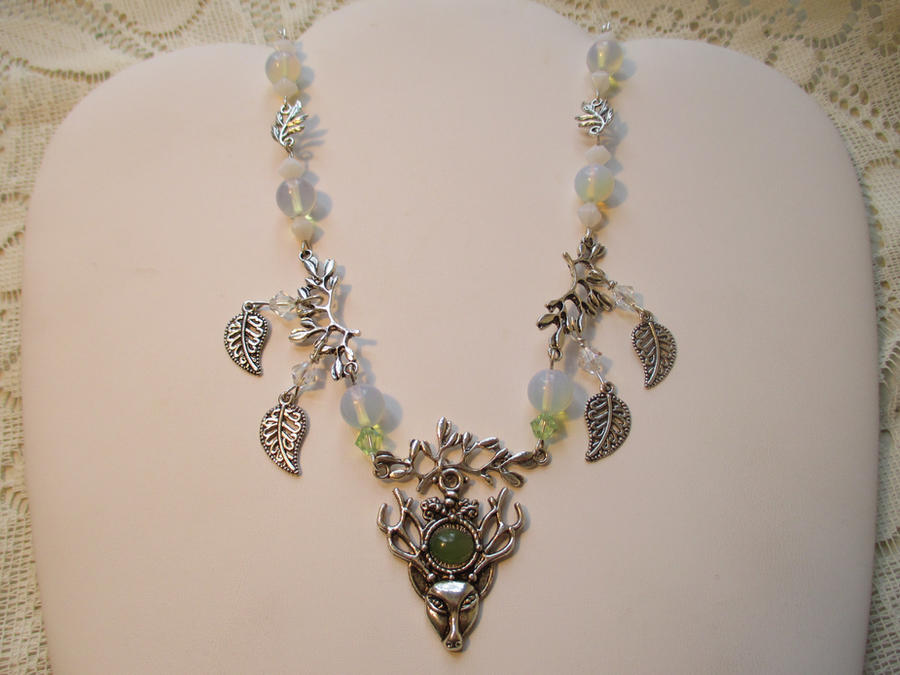 White Stag totem necklace by Destinyfall