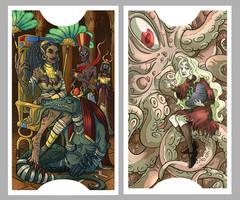 .Lovecraft Tarot: High Priestess + Strenght.