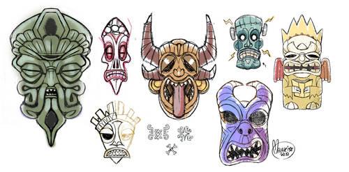 .Eldritch Tiki Sketches. by MalakiaLaGatta