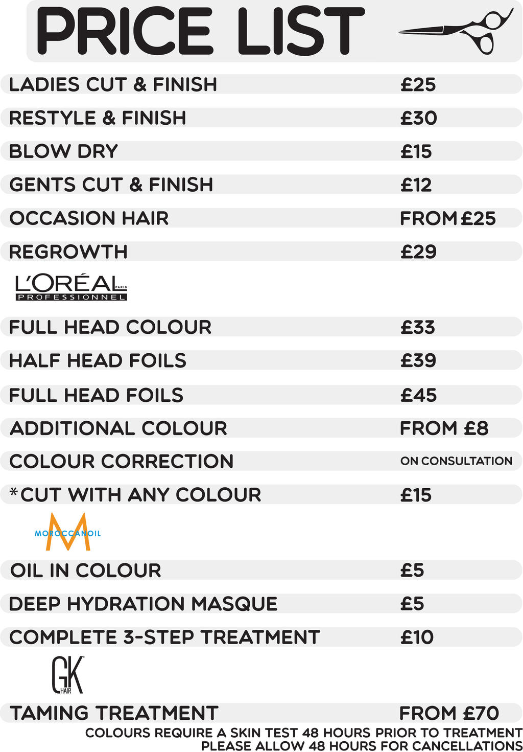 Hairdressing Pricelist By Xcalloomx On Deviantart