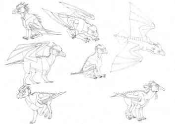 Sketches of classic dragons