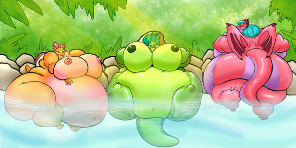 Large girls at a hotspring by RickyDemont