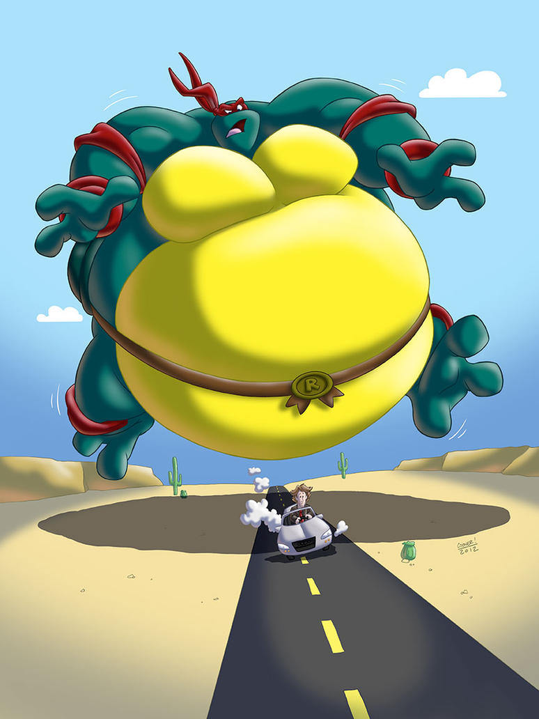 Giant Sumo Raph chases Michael Bay by RickyDemont