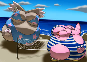 Biyomon and Lopmon Beachball game by RickyDemont