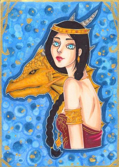 Morwenna and a dragon by Ascadelia