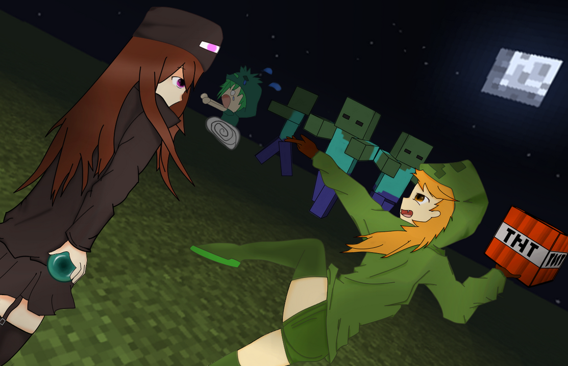 Minecraft cupa andr and yaebi vs mob zombies by - Minecraft zombie vs creeper ...