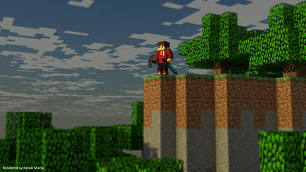 Sunset by the Cliff - Minecraft